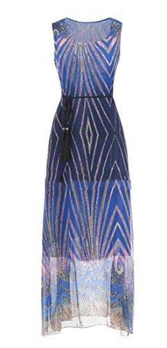 A Vita Womens Con Maniche Vestito Stampa Il Cromoncent Scollo Alta Senza Maxi Chiffon Blue2 R4REqfr