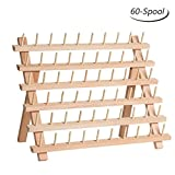 HAITRAL 60-Spool Thread Rack, Wooden Thread Holder Sewing Organizer for Sewing, Quilting, Embroidery, Hair-braiding: more info