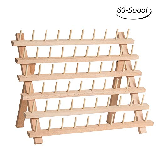 (HAITRAL 60-Spool Thread Rack, Wooden Thread Holder Sewing Organizer for Sewing, Quilting, Embroidery, Hair-braiding)