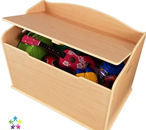 Toy Box, Natural, Functional , Safety Hinge on Lid Protects Young Fingers from Getting Pinched, Made of Wood, Doubles as a Bench for Additional Seating, Bundle with Expert Guide for Better Life
