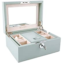 Vlando Two Tray Lockable Jewlery Box, Jewelries Collections Organizer, Girls Gift (Light Blue)