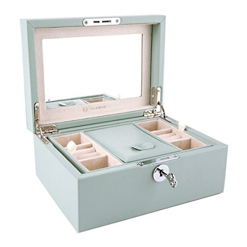 Vlando Two Tray Lockable Jewlery Box, Jewelries Collections Organizer, Girls Gift (Light Blue)