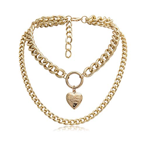 Layered Heart Locket Choker Necklace - 14k Gold Plated Hiphop Link Chain Necklace With Love Locket Engraved