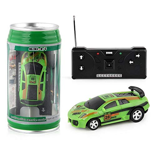 TelDen Mini Coke Can Speed Rc Radio Remote Conrtol Micro Racing Car with Led Lingts Toys Kids Gift Green ()