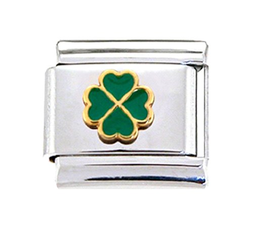 Stylysh Charms Irish Four Leaf Clover Lucky Enamel Italian 9mm Link NC087
