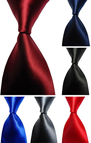 Wehug Lot 6 PCS Men's Ties 100% Silk Tie Woven Necktie Jacquard Neck Ties Solid Ties, Style013, 3.1 inch