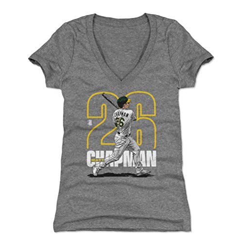 500 LEVEL Matt Chapman Women's V-Neck Shirt Large Tri Gray - Oakland Baseball Women's Apparel - Matt Chapman Outline Y WHT