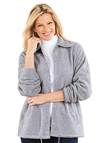 Fleece Snap Front Jacket Heather Gray