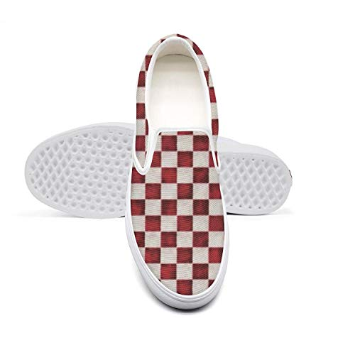 Men's Canvas Sneaker Checkered Red Low Help Vintage Breathable Golf Shoes