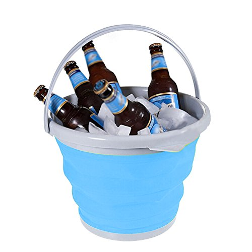 Champagne Ice - Foldable Collapsible Bucket 5L, Portable Outdoor Folding Pail Car Wash Bucket Wine/ice/champagne Beverage Chiller Tub Bucket with Handles for Gardening/Camping/Fishing/Beer & Wine Cooler(Blue)
