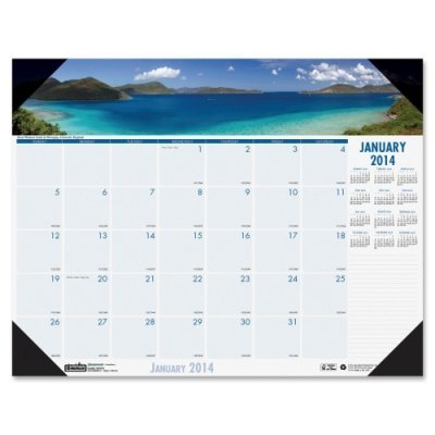 House of Doolittle Coastlines Photographic Monthly Desk Pad Calendar, January-December, 2013, 18-1/2 x 13 by House of Doolittle