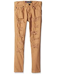 Southpole Big Boys' Washed Twill Long Pants with Ripped Details