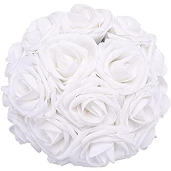Amazon obmwang 50pcs white foam roses flowers real touch febou artificial flowers 50pcs real touch artificial foam roses decoration diy for wedding bridesmaid bridal bouquets centerpieces party decoration mightylinksfo