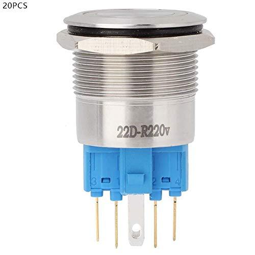 プッシュボタンスイッチ、20個22mm実用ステンレス鋼自動リセット2NO + 2NCスターターコンタクターリレー用ライト付きフラットリングヘッドボタンスイッチ(赤)