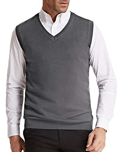 Men's V-Neck Knitting Vest Classic Slim Fit Sleeveless Pullover(Grey, Size XXL) ()