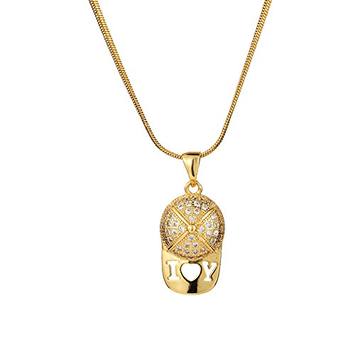 MCSAYS Hip Hop Jewelry I Love You Hat Cap Pendant Stainless Steel Iced Out Necklace (Gold, 50cm) by MCSAYS
