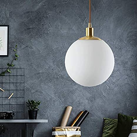 "LITFAD Globe Hanging Lamp Modern Fashion Milky Glass Pendant Light 8"" Diameter LED Bedside Lamp In Brass For Living Room, Bedroom, Restaurant - - Amazon.com"