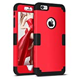 iPhone 5S Case, iPhone SE Case, iPhone 5 Case, BENTOBEN iPhone 5S 5 SE Cases Slim Fit Drop Proof 3 in 1 Hard PC Soft Silicone Rubber Rugged Protective Anti-Scratch iPhone Phone Case Cover for Apple iPhone 5/5S/SE, Black/Red
