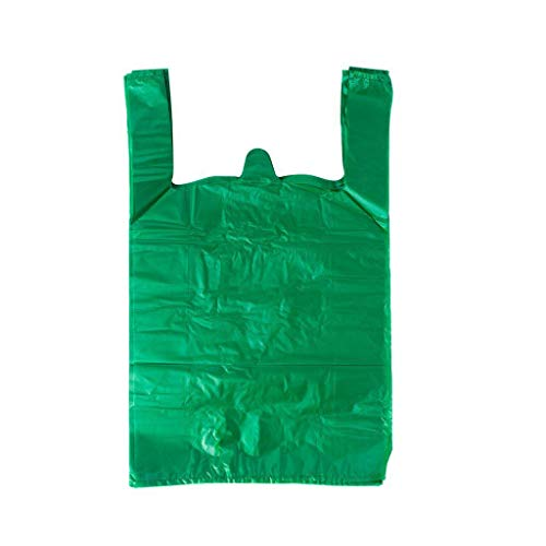 LazyMe 12 x 20 inch Plastic Thick Green T Shirt Bags, Handle Shopping Bags, Multi-Use Large Size Merchandise Bags, Green Plain Grocery Bags, Durable, (50 PCS, Green) ()