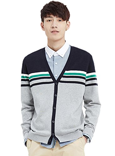 meters-bonwe-mens-v-neck-color-block-single-breasted-slim-fit-cardigan-black-l
