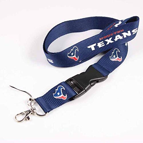 Gimax Houston Texans 55cm Neck Strap American Football Team Logo Lanyards for iPhone USB mp3 mp4 Camera Cell Phone Lanyard 1pc - (Metal Color: Texans)
