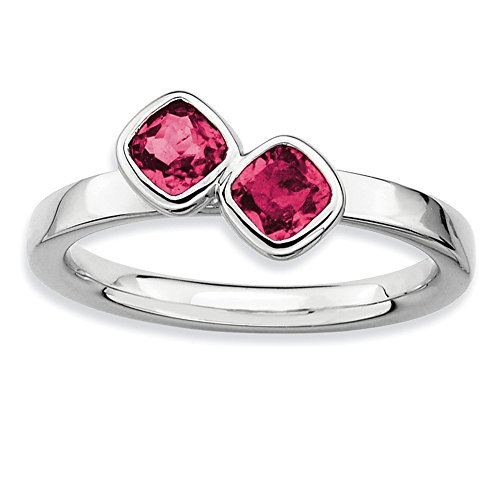 Sterling Silver Stackable Expressions Dbl Cushion Cut Cr. Ruby Ring Size 9