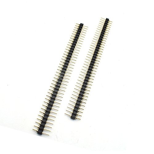 ZYAMY 10pcs 2.54mm Male Breakable Pin Header Strip 40Pin 1x40P Single Row Straight Gold Plated Male Pin Header Strip Connector Black