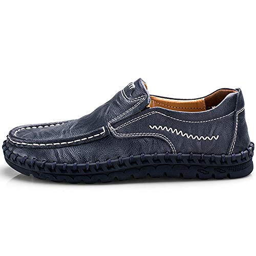 Pictures of VILOCY Men's Leather Slip On Loafers 3358*19 Blue 6
