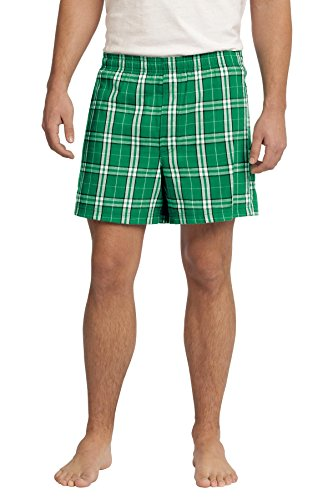 District Men's Young Flannel Plaid Boxer L Kelly Green
