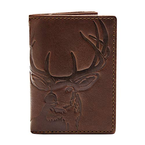 HOJ Co. DEER Trifold Wallet-Full Grain Leather Mens Trifold Wallet-Deer Wallet-Hunter Gift