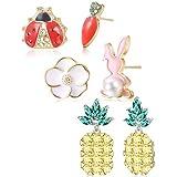 ORAZIO 3 Pairs Cute Stud Earrings for Women Girls Fruit Pineapple Flower Asymmetry Kids Earrings Set