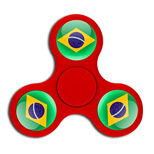 PFTGOD brazil logo Fidget Spinner Stress Reducer High-end Toys Perfect peg-top Red (Trophy Spinner Soccer)