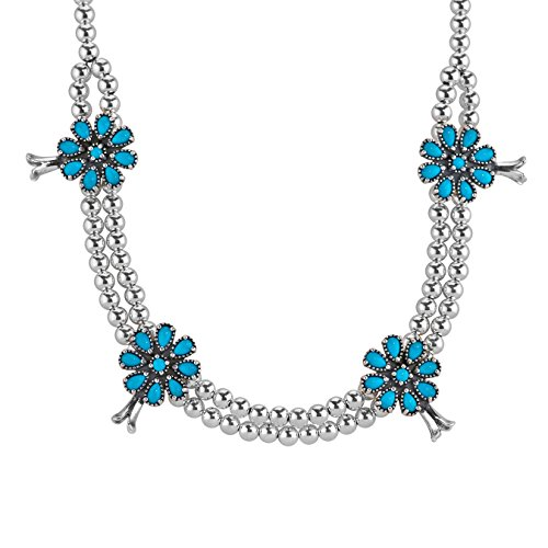 Sterling Silver Sleeping Beauty Turquoise Squash Blossom Necklace, 18'' by American West