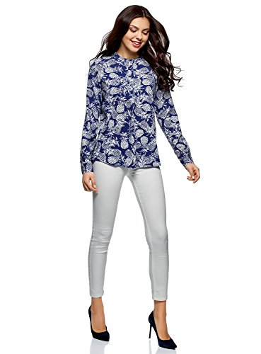 Ad Oodji In Blu7930o A Collection Donna Linea Camicetta Viscosa 0wOX8Pnk