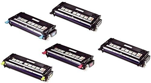 (Golden Toner Remanufactured Toner Cartridges Replacement for Dell 3110cn 3115cn - (CMYK 5 Pack with 2 Black))