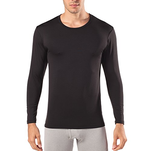 Lapasa Men's 2-Pack Thermal Underwear Long Sleeve Crew Tops Fleece Lined Base Layer for Winter Traveling Ski M09