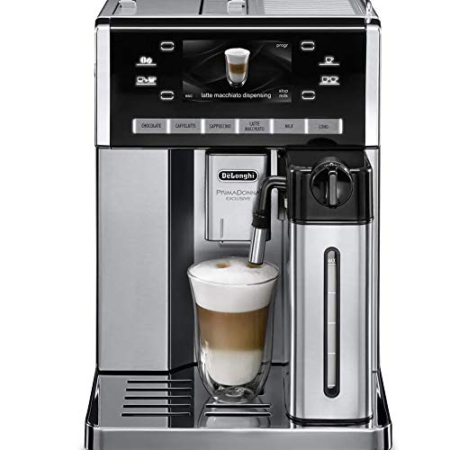 Delonghi super-automatic espresso coffee machine with double boiler, milk frother, chocolate maker for brewing espresso, cappuccino, latte, macchiato & hot chocolateESAM6900M Primadonna