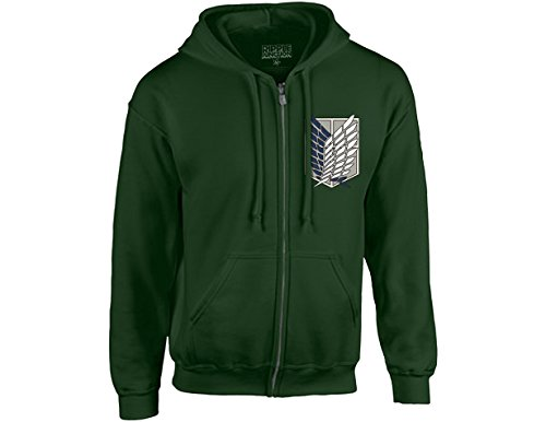 Ripple Junction Attack on Titan Survey Corps Adult Zip Hoodie Large Dark Green (Attack On Titan Xbox One Release Date)