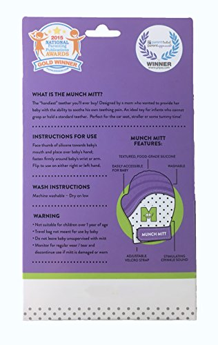 Munch Mitt® Teething Toy Stays on Baby's Hand is Self-Soothing Entertainment and Gives Pain Relief from Teething plus is Ideal Baby Shower Gift that includes Handy Travel/Laundry Bag– Set of 2 Purple by Munch Mitt (Image #2)