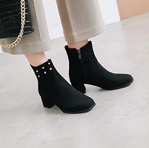 Negro 2018 Autumn Boots New Shinik Las Alto Cómodo Martin Señalaron Rhinestone Mujeres Talón Botines xqAwBUO6