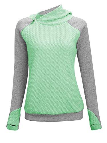 Hooded Sweatshirt With Zipper (Women Fashion Hoodies Sweatshirts Long Sleeve Spliced Color Zipper Pullover Tops Green Gray M)