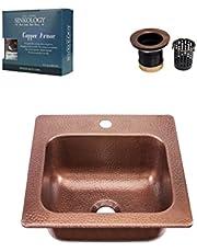 Sinkology KPD-1515HA-AMZ-TB Seurat Jr Drain Armor Copper Kitchen Sink