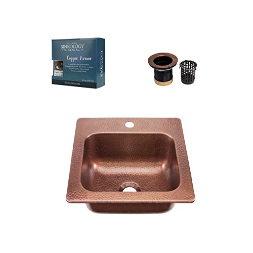 Sinkology KPD-1515HA-AMZ-TB Seurat Jr Drain Armor Copper Kitchen Sink