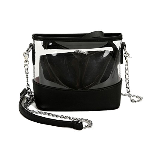 Youndcc Clear Cross-Body Messenger Bag Shoulder Bag Shoulder Purse Crossbody Purse Inner Bag, Adjustable Metallic Strap, Transparent, Waterproof, NFL Stadium Approved