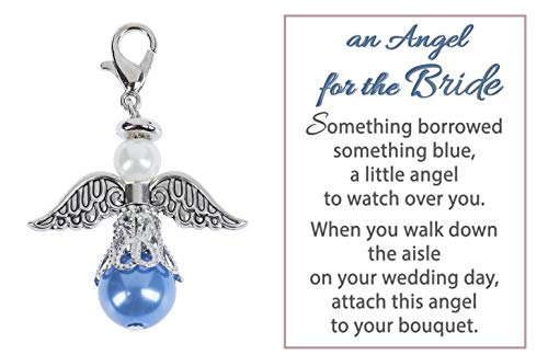 (An Angel For The Bride Something Blue and Silver Tone 1 x 1 Zinc Metal Bouquet Charm)