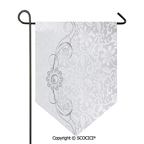 (SCOCICI Easy Clean Durable Charming 28x40in Garden Flag Lace Inspired Flourish Motifs Background with Bridal Flower Border Wedding Theme,Silver White Double Sided Printed,Flag Pole NOT Included)