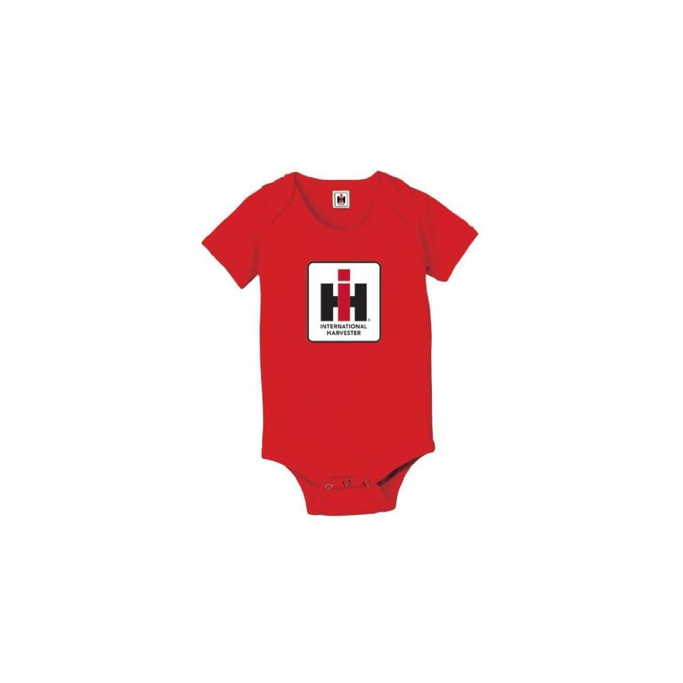 International Harvester Tractor Infant Creeper Romper   Red