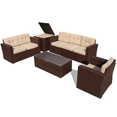 PATIOROMA Outdoor Furniture Sectional Sofa Set (8-Piece Set) All-Weather Brown Wicker with Beige Seat Cushions & Glass Coffee Table & Wiker Storage Box| Patio, Backyard, Pool|Aluminum Frame (Table Patio Clips Glass)