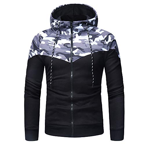 - Fahsion Print Camouflage Men's Long Sleeve Hooded Sweatshirt Tops Outwear Jacket Coat