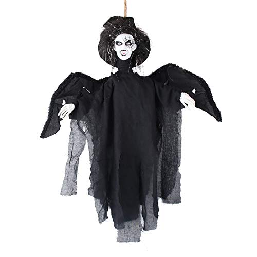 Hophen Halloween Hanging Animated Scary Flying Ghost Vampire Black Witch Decoration Props Horror Outdoor Indoor Party Decor